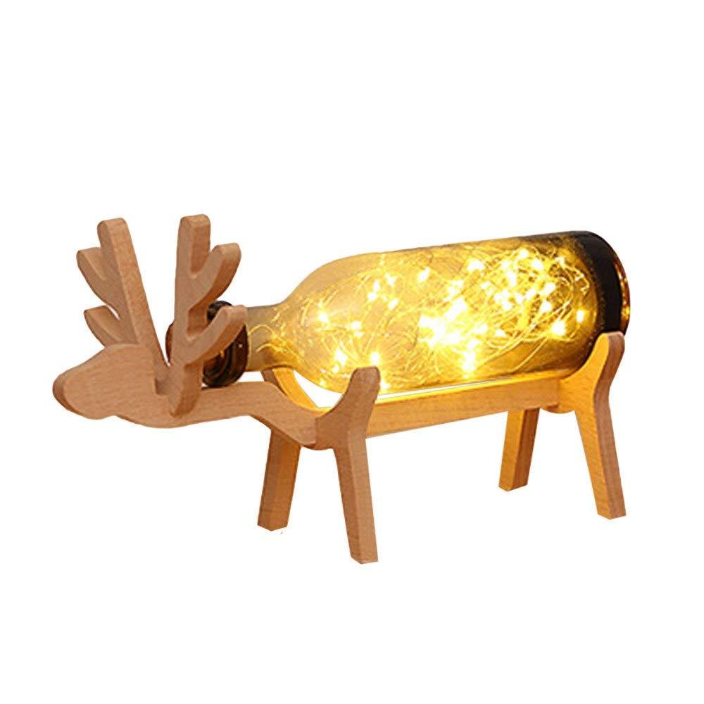 HeroStore Xmas Elk LED Night Light Glass Bottle Wood Base Illusion Night Switch Table Light Lamp Creative Lava lamp Night Light