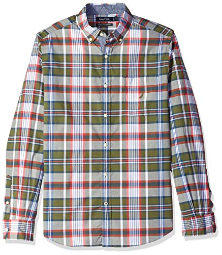 Nautica Men's Classic Fit Stretch Plaid Long Sleeve Button Down Shirt, Convoy Green, Large