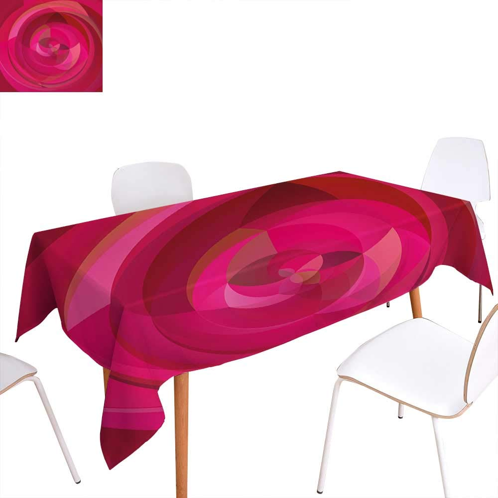 familytaste テーブルクロス ホットピンク カスタマイズ可 抽象アート モダンな表現主義デザイン 鮮やかなピンク調 汚れにくい しわ加工テーブルクロス ピンク ドライローズライトピンク W60