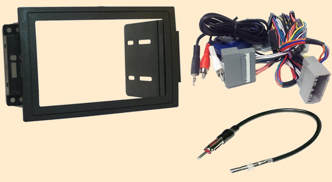 Radio Stereo Install Double Din Dash Kit + Steering control wiring + canbus wire harness + antenna adapter When Replacing a Navigation system in a Dodge Magnum (05-07), Ram (06-07), Commander (06-07) - Jeep Compass (07-08), Grand Cherokee (2005-2007), Pat