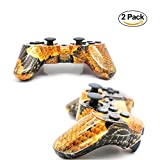 [2 Pack] Bluetooth Camouflage Game Controller Wireless Dualshock Joystick Vibration Sixaxis Remote Gamepad for PS3 Playstation 3 [Gift 2 Charging-Cable] (Yellow-Camouflage)