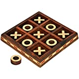 Wooden Handcrafted Tic Tac Toe Board Game for Adult Kids 5.5 by 5.5 inch