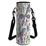 iPrint Water Bottle Sleeve Neoprene Bottle Cover,Dragonfly,Butterfly Dragonfly Paisley Complex Motifs with Diverse Ethnic Lines Art Image,Multicolor,Fit for Most of Water Bottles