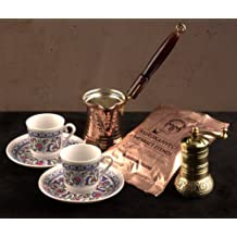 Turkish Coffee Gift Set: Cup Saucer X 2 Grinder Ibrik and Pack of Quality Coffee by The Turkish Emporium