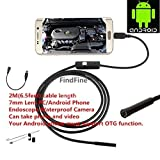 FindFine USB borescope For Android OTG Phone HD 6.5ft 7mm lens inspection Pipe IP67 Waterproof Side mirrors micro USB endoscope
