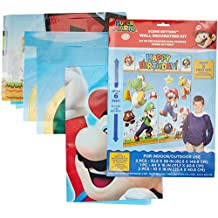 """Amscan Super Mario Happy Birthday Giant Scene Setters Wall Decorating Kit Party Backdrop, 5 Pieces, Made from Vinyl, Multicolor, 59"""" x 65"""" by"""