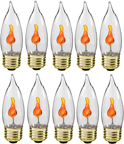 (Creative Hobbies® 10J Flicker Flame Light Bulb -Flame Shaped, E26 Standard Base, Flickering Orange Glow - Box of 10)