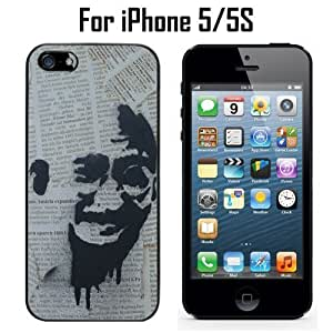 Graffiti Gandhi On Newspaper Custom Case/ Cover/Skin *NEW* Case for Apple iPhone 5/5S - Black - Rubber Case (Ships from CA) Custom Protective Case , Design Case-ATT Verizon T-mobile Sprint ,Friendly Packaging - Slim Case
