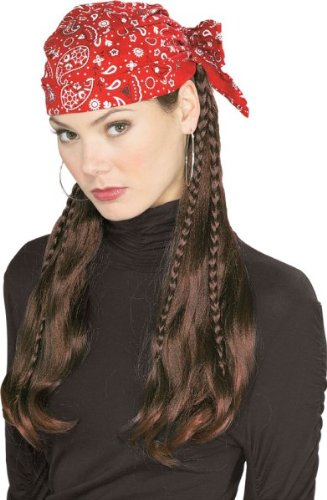 Sexy Biker Costume (Halloween Sexy Women's Costume Biker Pirate Do-Rag Wig Womens)