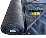 SHANS 90% UV Shade Cloth Shade Fabric Outdoor Shade Cover Sunlight With Clips Free (Black12ft x 50ft)