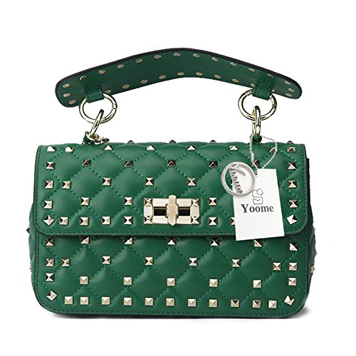 Yoome Genuine Leather Quilted Shoulder Bag Chain Purse Mini Clutch with Bling Rivets Top Handle - Genuine Bling