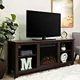 60in tv stand with fireplace - New 58 Inch TV Stand with Fireplace in Espresso Finish