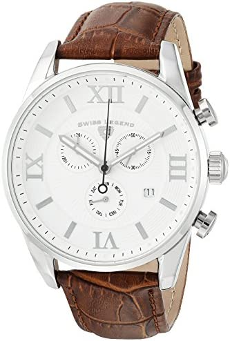Swiss Legend Men s Bellezza Stainless Steel Swiss-Quartz Watch with Leather Calfskin Strap, Brown, 21 Model 22011-02-BRN