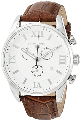 Swiss Legend Men's 'Bellezza' Swiss Quartz Stainless Steel and Leather Casual Watch, Color:Brown (Model: - Men Legend Watches Swiss