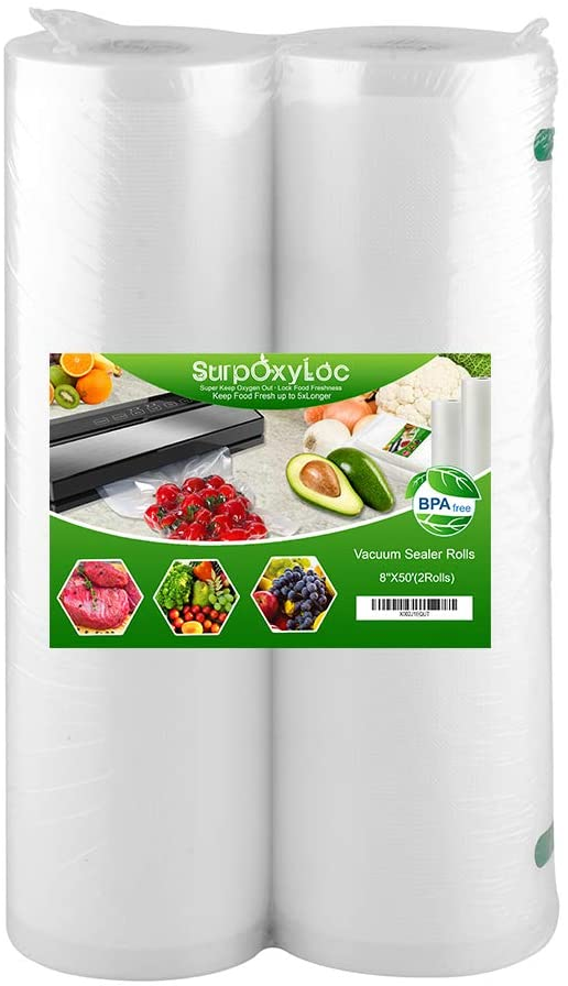 SurpOxyLoc 2 Pack 8x50 Vacuum Sealer Bags Rolls for Food Saver,Seal a Meal,Plus Other Machine,BPA Free,Puncture Prevention,Great for Sous Vide Cooking