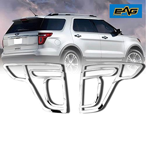 Chrome Plated Plastic Bezel - EAG 11-15 Ford Explorer Taillight Bezels Cover ABS Triple Chrome Plated (67-0309)