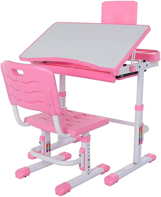 Multifunction Workstation for Home/&Office Use Height Adjustable Children Study Desk and Chair Set with Pull Out Drawer/&Bookstand,Heavy Duty Creative Student Reading Tilted Table Pink