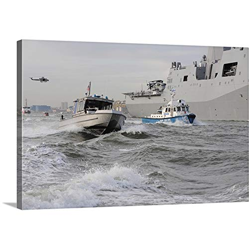 GREATBIGCANVAS Gallery-Wrapped Canvas Entitled Crews from The Coast Guard and Police Departments Escort USS New York by Stocktrek Images 48