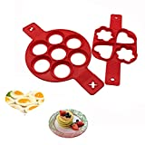 #7: Silicone Pancake Mold Nonstick Egg Ring Maker Round Heart-shaped Flower- shaped (2)