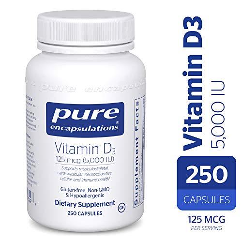Pure Encapsulations - Vitamin D3 5,000 IU - Hypoallergenic Support for Bone, Breast, Prostate, Cardiovascular, Colon and Immune Health* - 250 Capsules