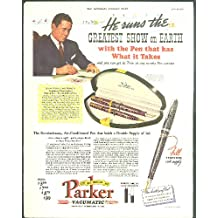 John Ringling North Parker Pen ad / Saturday Evening Post cover 1938 crew boat