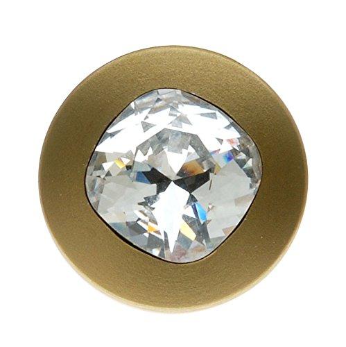 (Swarovski Elements Gold Plated Cushion Crystal Jean Button 17mm (1 Set) )