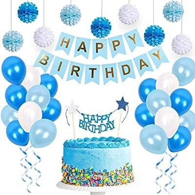 Kit de decoraciones de cumpleaños azul para niños con ...