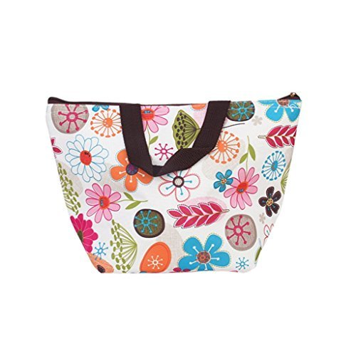 DOOPOOTOO Waterproof Picnic Lunch Bag Case Tote Reusable Bags Insulated Cooler Travel Zipper Organizer Box for Women Men Kids Girls Boys Adults (Colorful Floral)