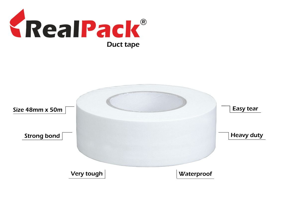 REALPACK® 1 Rolls - White Gaffer / Duct Tape size : 48mm x 50m. Strong Waterproof Cloth Book Binding Tape Free Fast Shipping REALPACK®