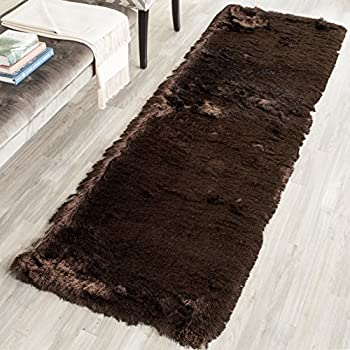 Safavieh Paris Shag Collection Chocolate Polyester Area Rug