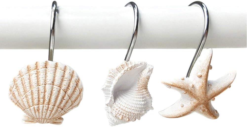 Grace life 12 PCS Fashion Decorative Starfish Seashell Conch Style Shower Curtain Hooks Creative Resin Shower Hook Sea Ocean Decor