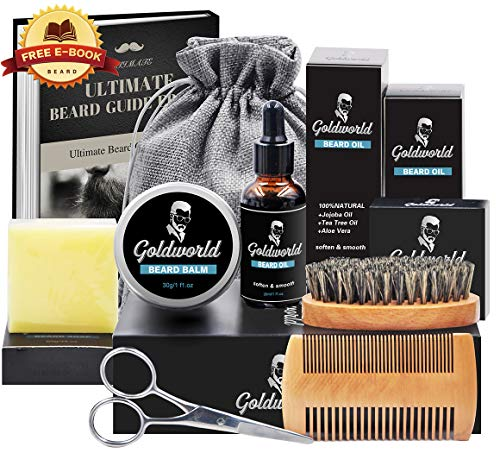 Beard Care & Grooming Kit w/Free Beard Soap,Unscented Beard Oil,Beard Balm,Beard Comb,Beard Brush,Beard Scissors,Storage Bag for Beard Care Growth by GoldWorld