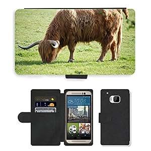 PU LEATHER case coque housse smartphone Flip bag Cover protection // M00110105 Ganado de la montaña Ganado Vaca Peluda // HTC One M9
