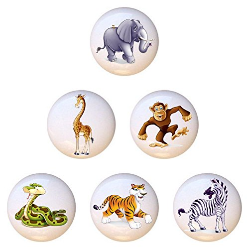 Jungle Drawer Pulls - SET OF 6 KNOBS - Baby Jungle Animals Collection - DECORATIVE Glossy CERAMIC Cupboard Cabinet PULLS Dresser Drawer KNOBS
