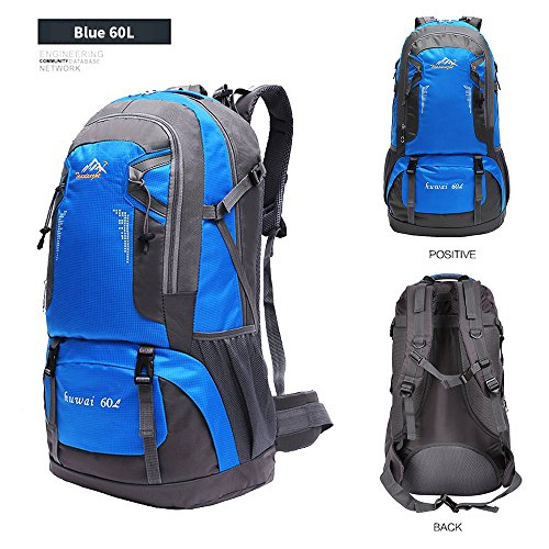 60 L Waterproof Ultra Lightweight Packable Climbing Fishing Backpack Hiking Daypack,Internal Frame Backpack,Handy Foldable Camping Outdoor Backpack Bag with a Rain Cover (Blue, 60L)