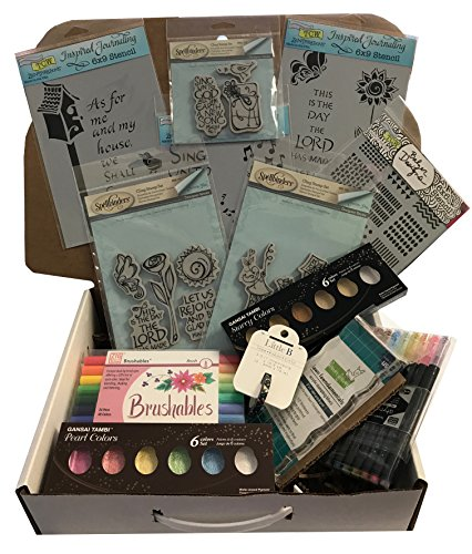 Dandy Deluxe Bible Journaling Kit # BJK03 Includes Markers Watercolors Stencils Multiliner Washi Tape Brush Acrylic Block and Multiple Inspirational Stamp Sets by Dandy Store