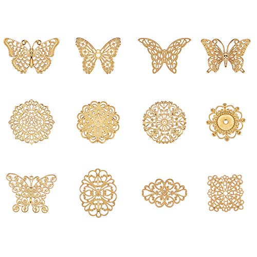 PH PandaHall 72pcs 12 Style Golden Brass Filigree Flower Links Connectors Charms Pendants DIY Hairpin Headwear Earring Jewelry Making Findings