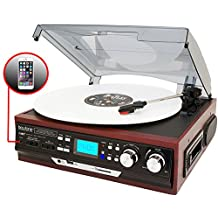 Boytone BT-17DJM-C 3-speed Stereo Turntable, 2 Built in Speakers Digital LCD Display AM/FM, USB/SD/AUX+ Cassette/MP3 & WMA Playback /Recorder & Headphone Jack + Remote Control