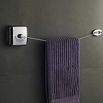 KES Retractable Clothesline 18/10 Stainless Steel with Brass Pull Head Wall Mount Contemporary Square Hotel Style Polished Finish, BCL201