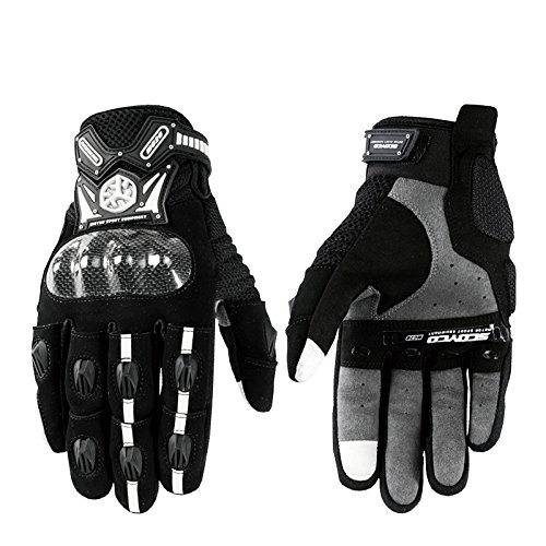Scoyco MC20 Touch Screen Motocicleta Full finger Gloves Motorcycle Gloves Carbon Fiber Motorbike Guantes Luvas Protective (Medium)