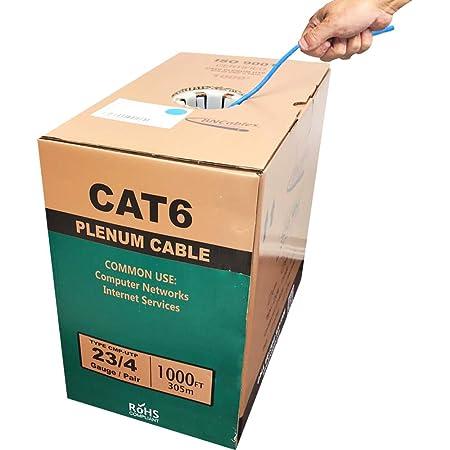 550MHZ CAT6 Blue Plenum Cable 1000ft Bulk Cables