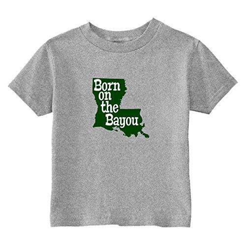 U.S. Custom Kids Louisiana Born On The Bayou State Toddler T-Shirt, 2T T-Shirt, Gray Toddler T-Shirt