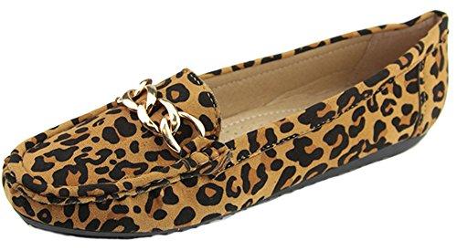 Bella Marie Women Sueded Slip On Moccasin Loafer Leopard