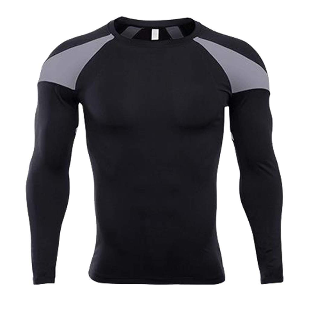Forthery Men's Long Sleeve T-Shirt Cool Dry Compression Tops Sports Athletic Blouse(Grey,Small)
