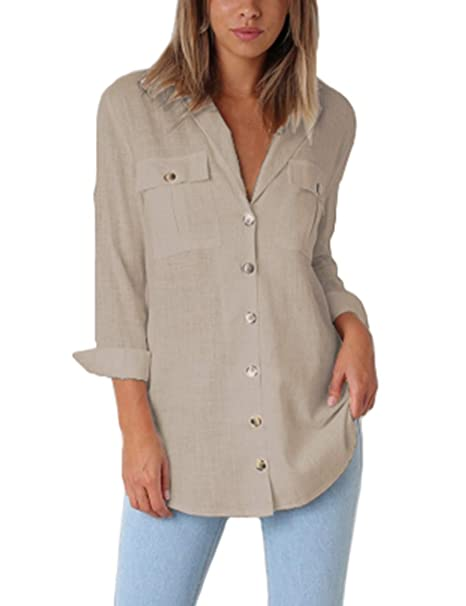 a8f94a17a80 Jeazi Women s Utility Shirt with Casual Roll-up Sleeve V Neck Button Down  Pockets Loose Blouse Shirt Tops at Amazon Women s Clothing store