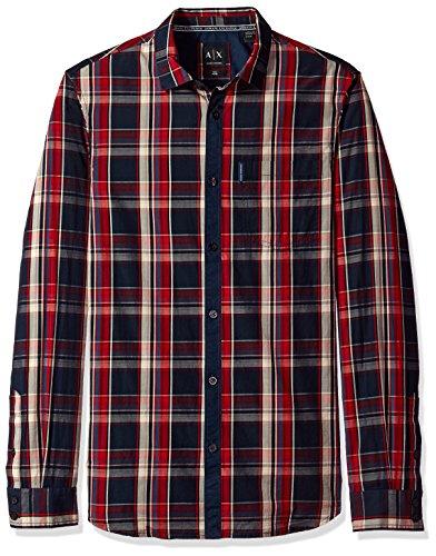 A|X Armani Exchange Men's Plaid Long Sleeve Button Down Shirt, Blue Red Macro Check,