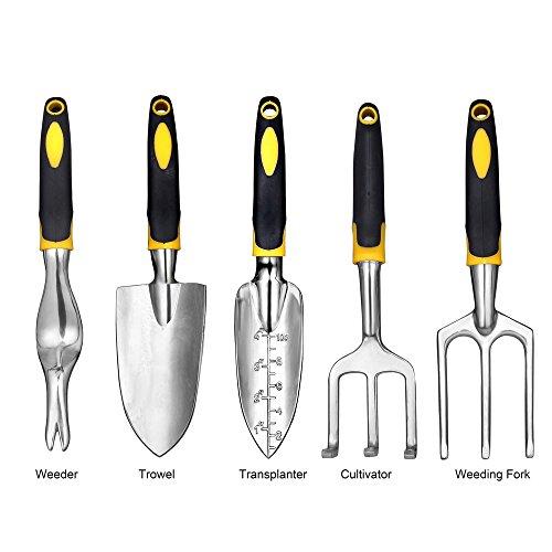 NUZAMAS Garden Tools Set of 5 Including Trowel, Transplanter, Cultivator, Weeder, Weeding Fork, Digging, transplanting, Cultivating, Cleaning, Soil