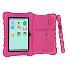 """YUNTAB Q88H Kids Edition Tablet, 7"""" Display, 8 GB, WiFi, Bluetooth, Kids Software Pre-Installed, Premium Parent Control, Educational Game Apps, Protecting Silicone Case, Pink"""