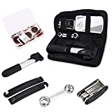 Universally Mountain Road Bike Wheel Tire Repair Repalcement Tools Kit Bicycle Pump 16 in 1 Multi Function with Tire Levers & Tire Tube Patches & Metal Rasp (Include Bag)