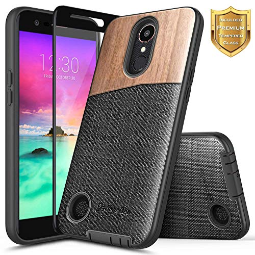 LG K20 Plus Case, LG K20 V (Verizon) /V5 /K10 2017 /Harmony/LG Grace LTE w/[Tempered Glass Screen Protector], NageBee Premium Natural Wood Canvas Fabrics Dual Layer Shock Proof Hybrid Case -Wood